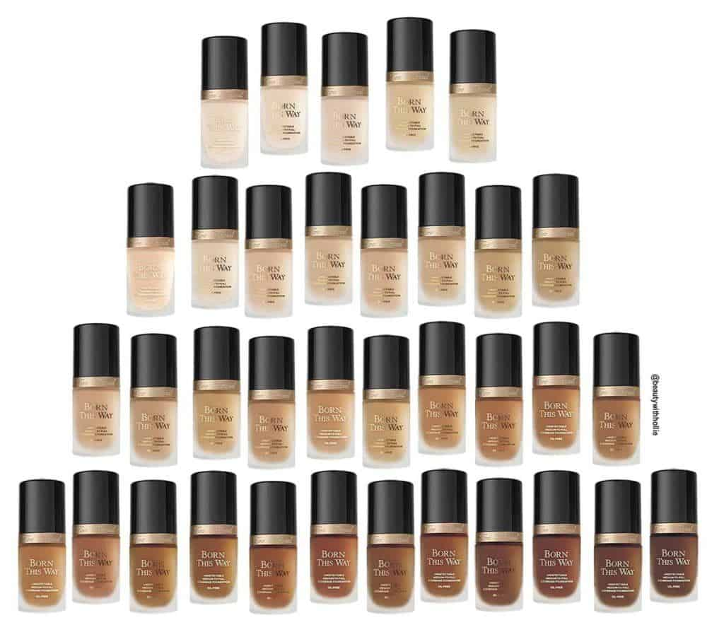 Too Faced born this way foundation colours