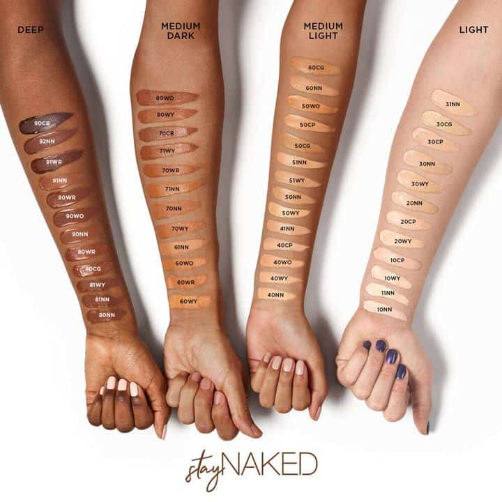 stay naked foundation swatches