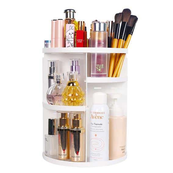 Rotating-Makeup-Caddy-for-small-spaces