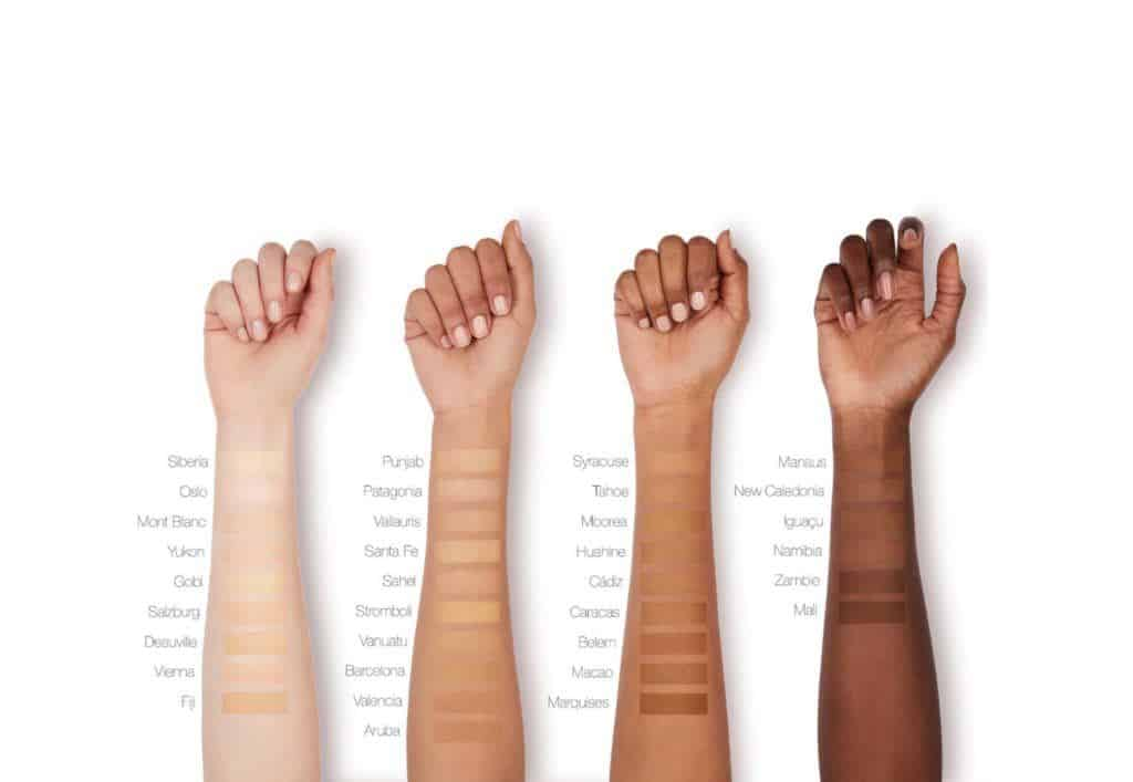 The NARS Soft Matte Complete Foundation swatches