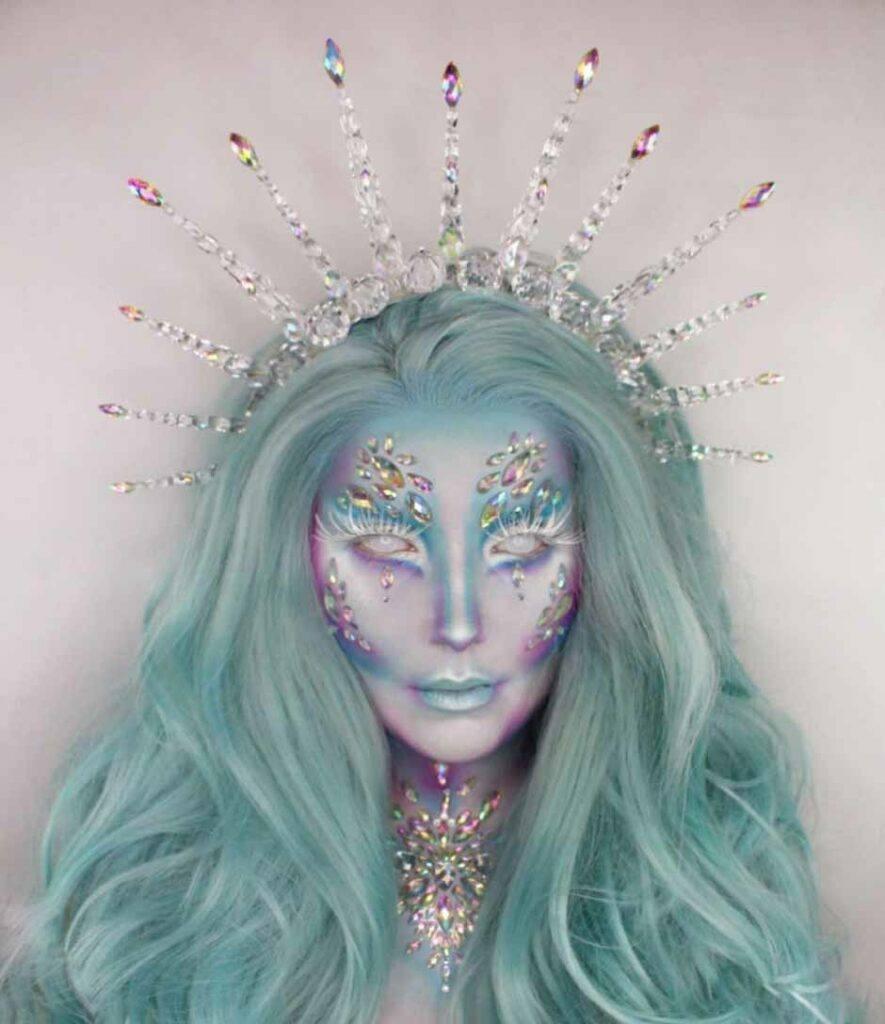 Ice queen christmas makeup look