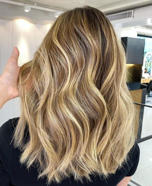 Brown Roots With Warm Blonde Streaks