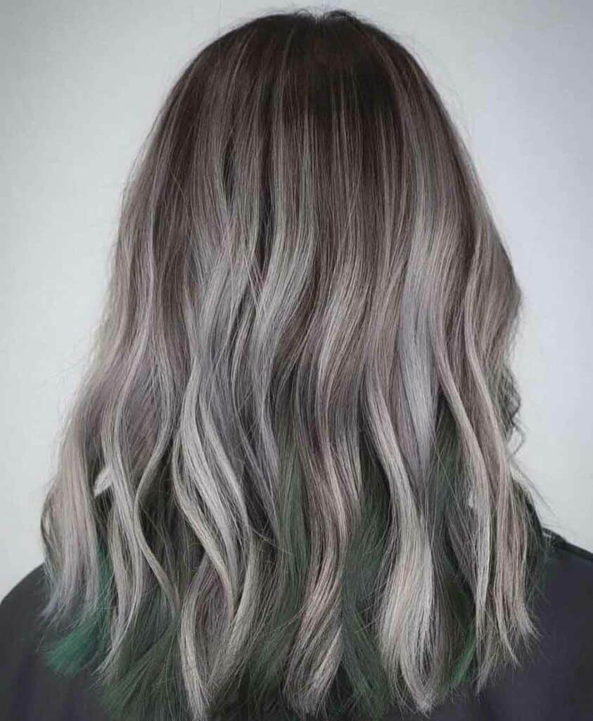 Grey Hair with Green Tips