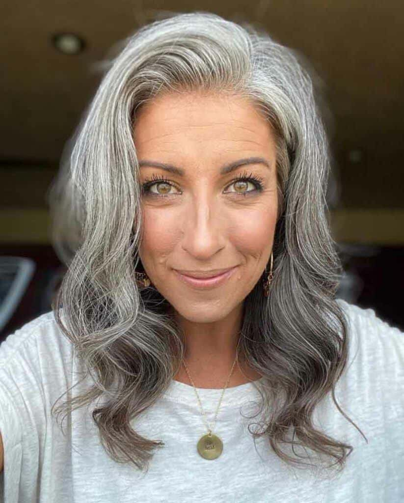 Mid-length Two-Toned Grey Hair