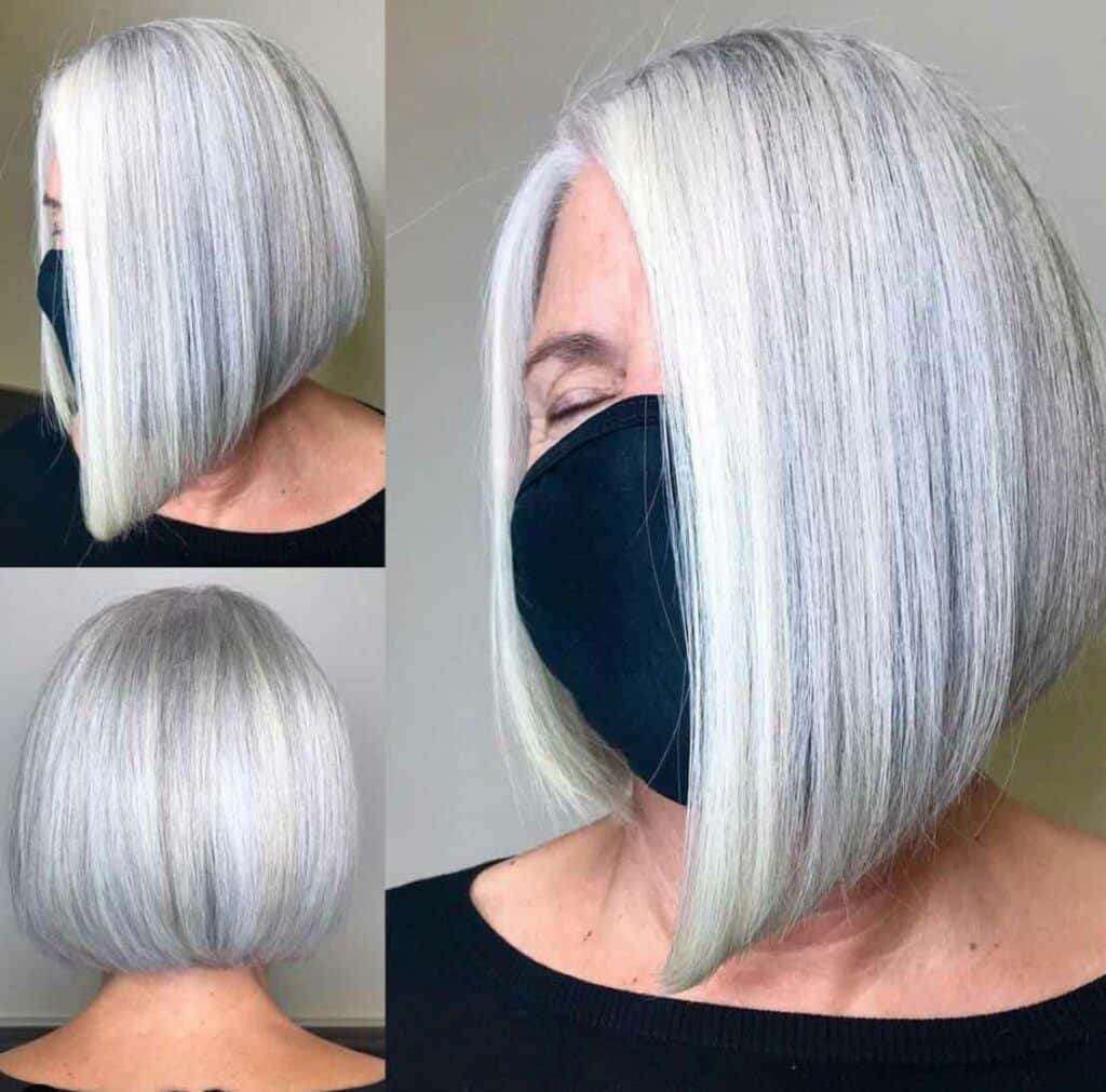 Silver Bob With Light Blonde Highlights