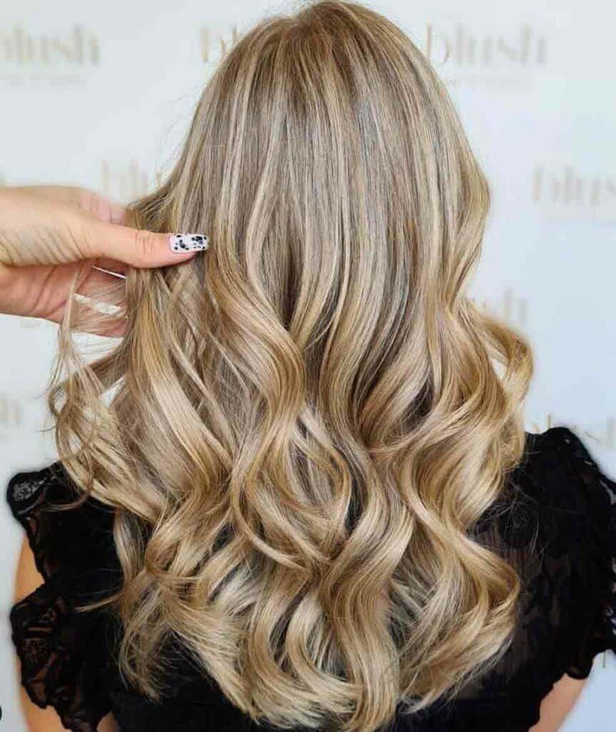 Warm Ash Hair With Caramel Highlights