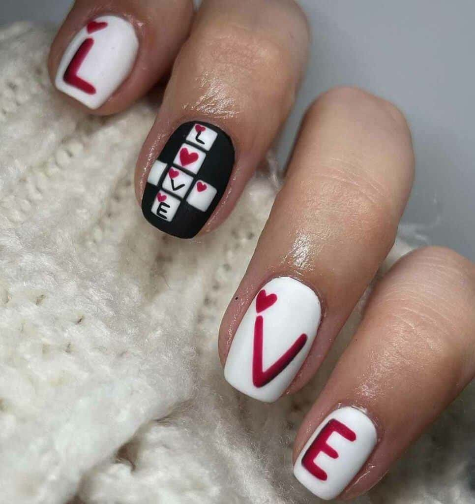 Valentines Crossword Nails