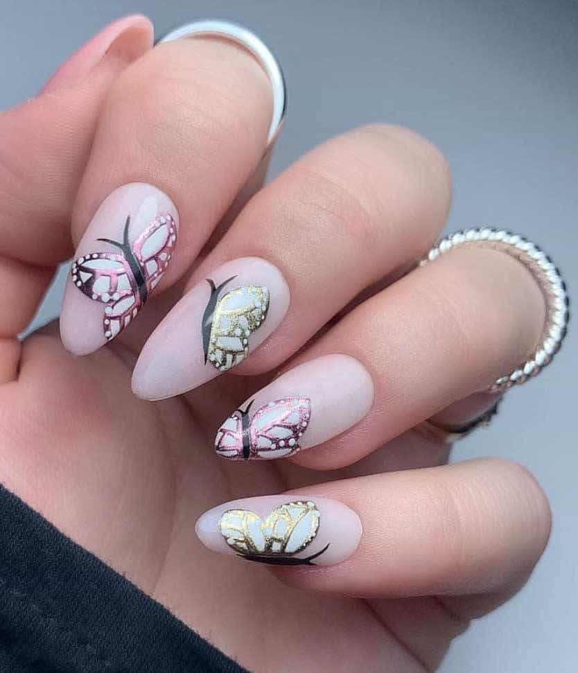 Chrome Butterfly Nails