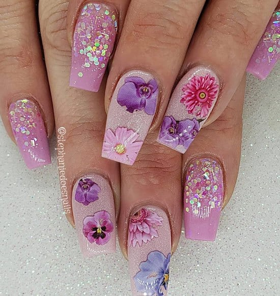 glam floral nails