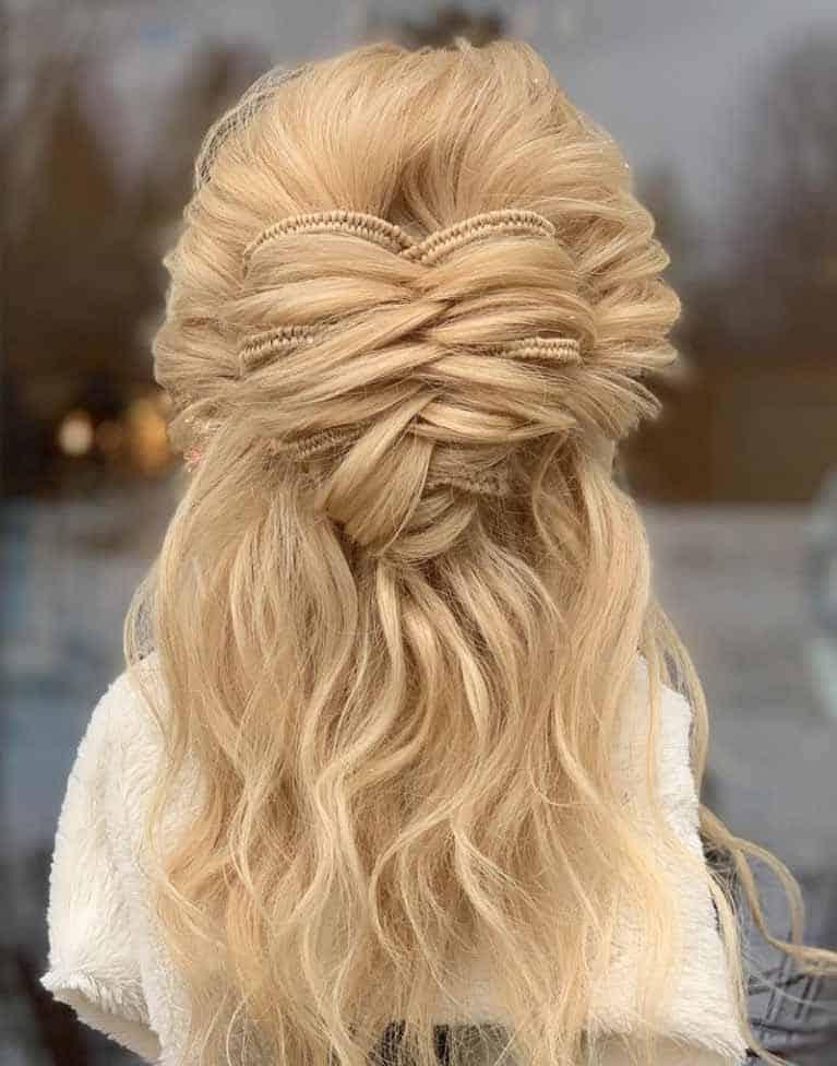 half bun braid