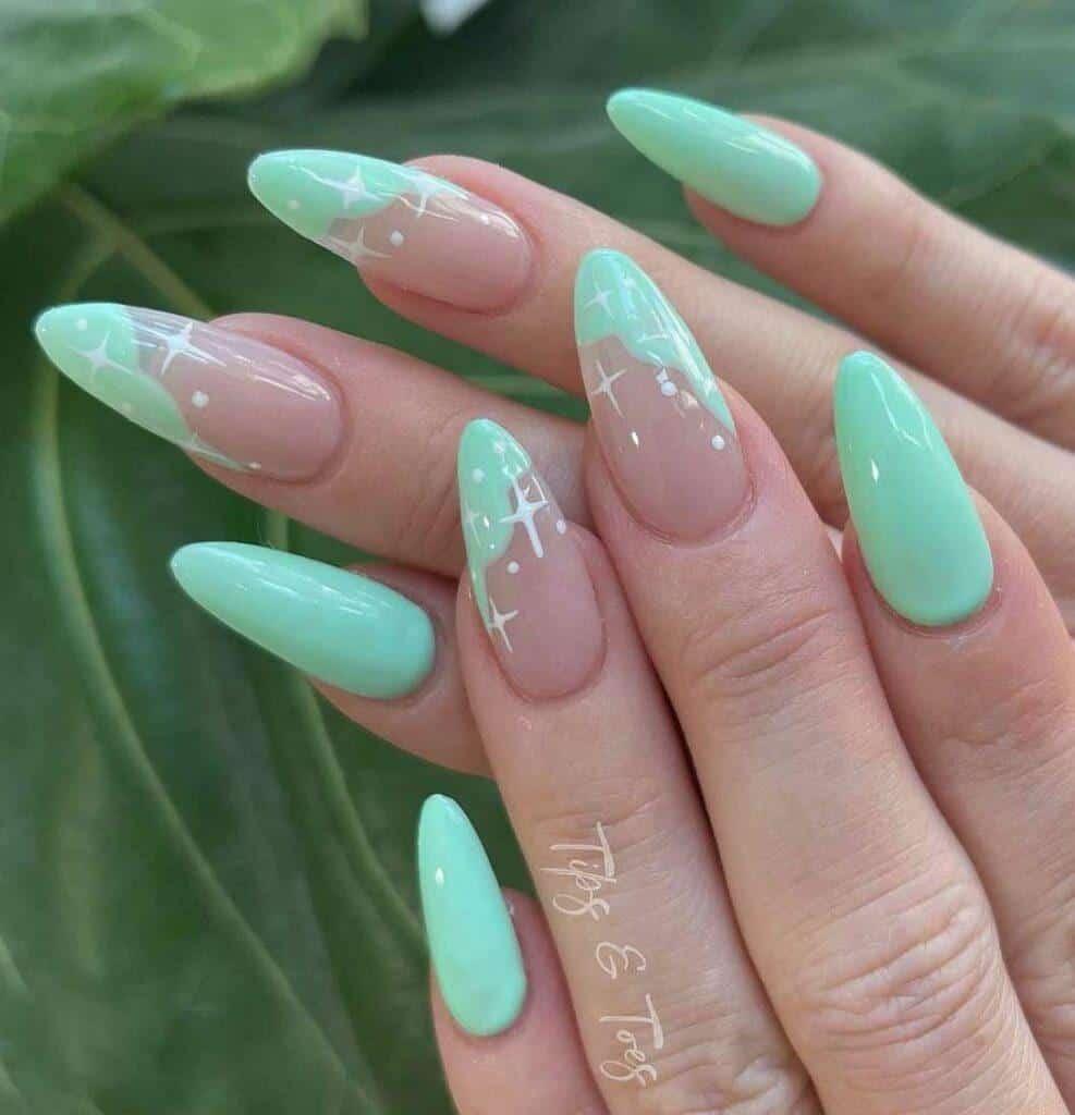 Aqua Sparkly Nails
