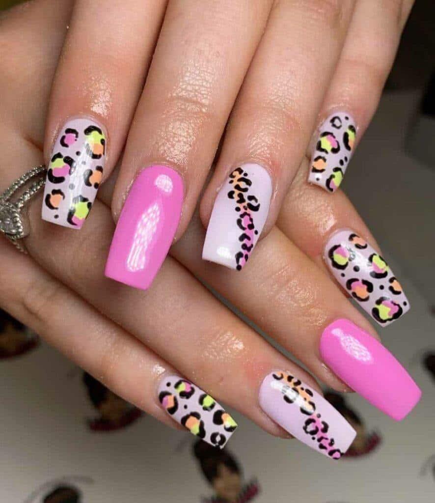 Bright Leopard Nails