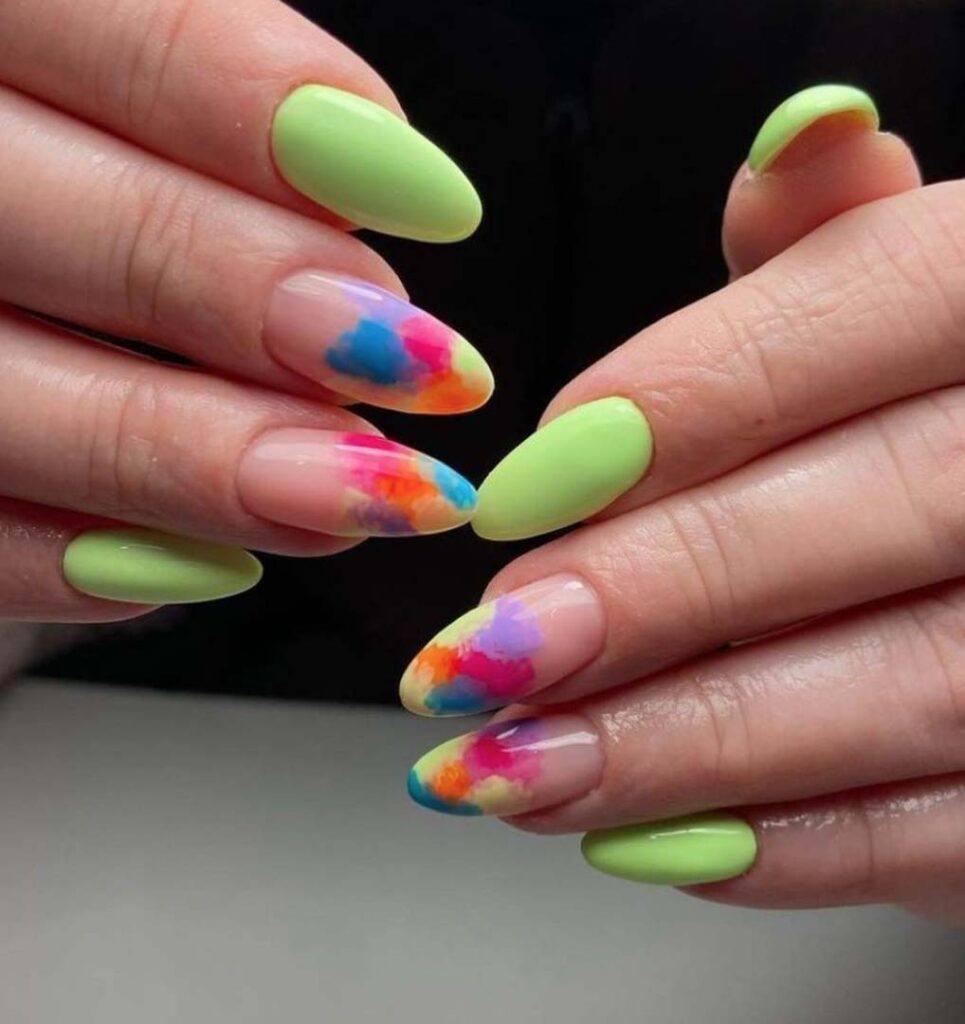 colourful paint nails