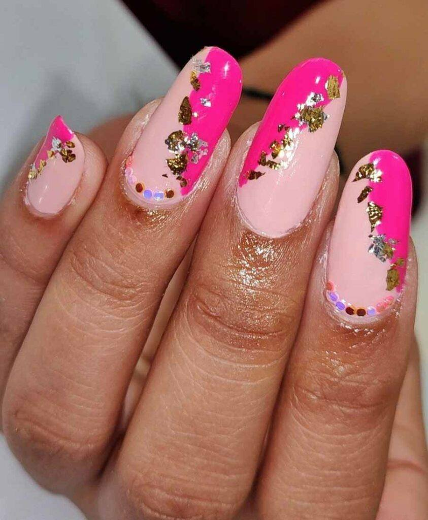 two toned pink gold nails