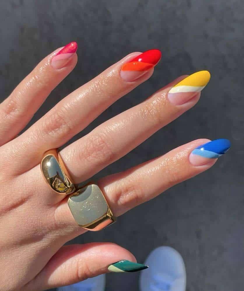 rainbow French mani