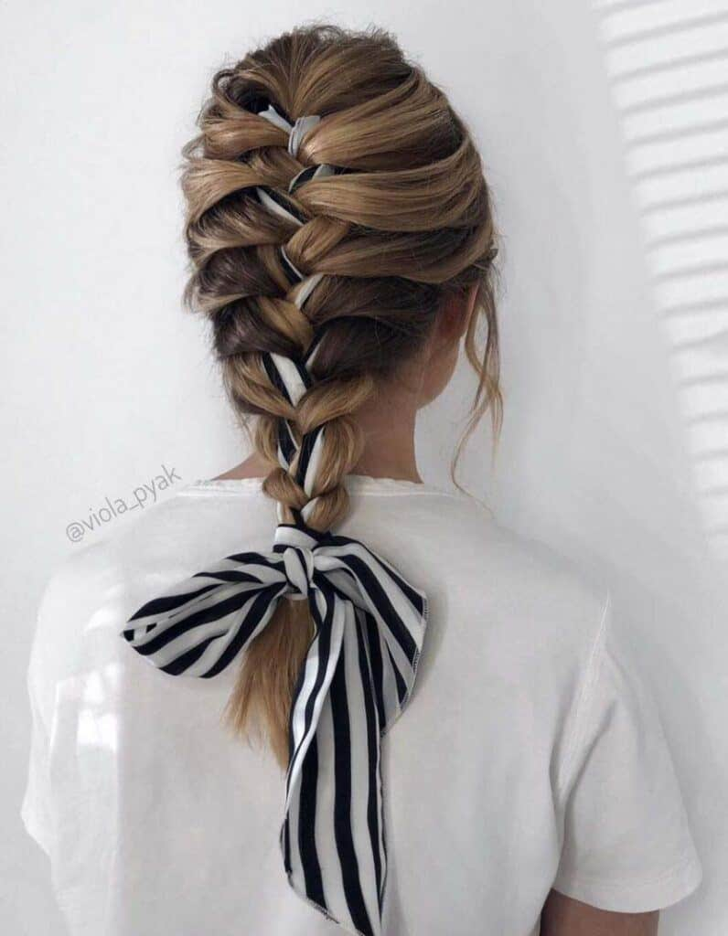 classic french braid with ribbon