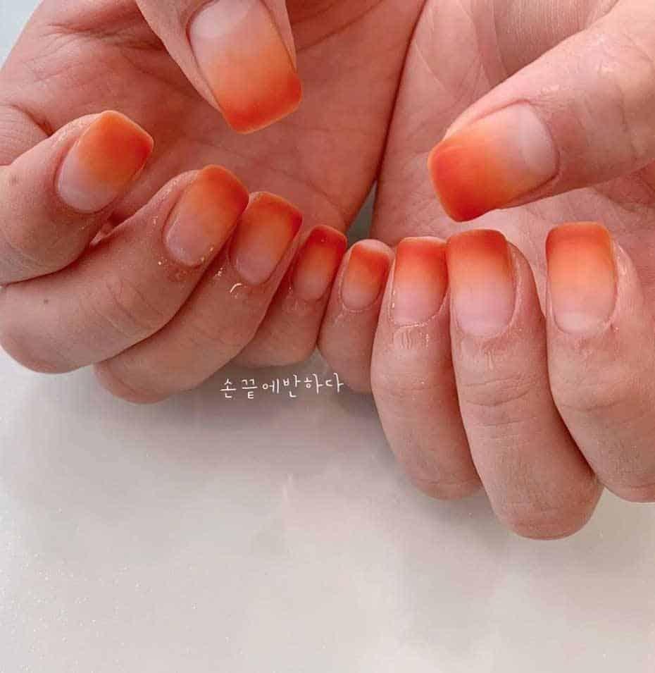 Transparent Matte Ombre Nails