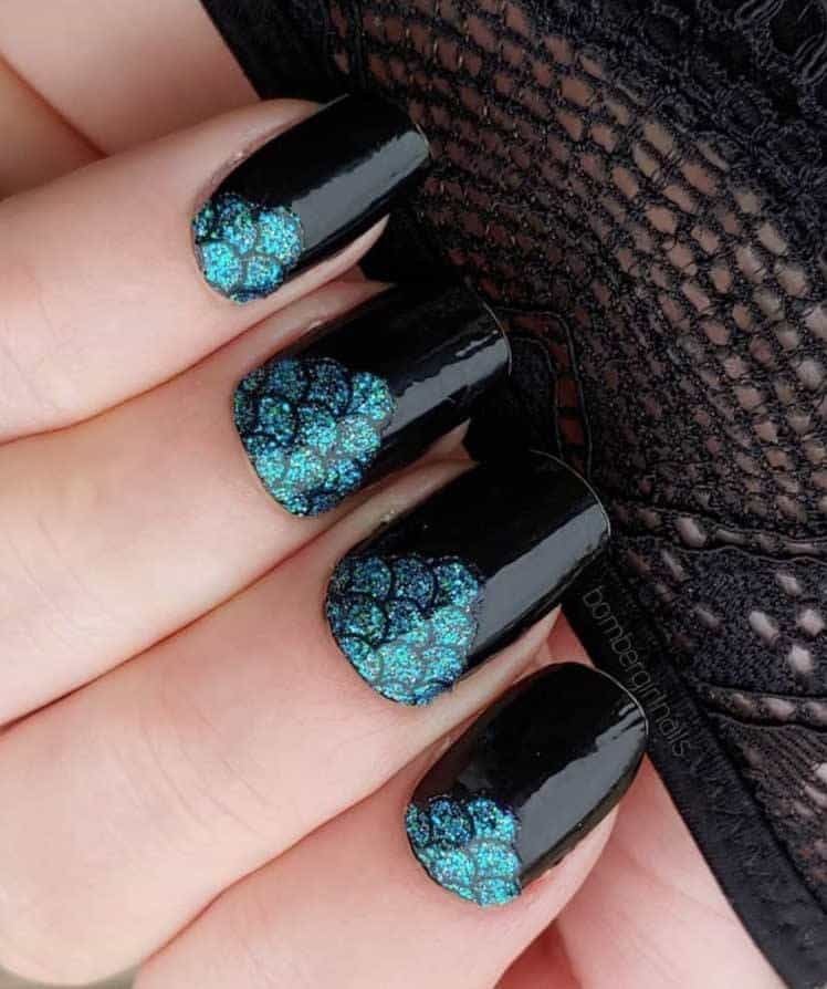 Mermaid Scale Accent Nails
