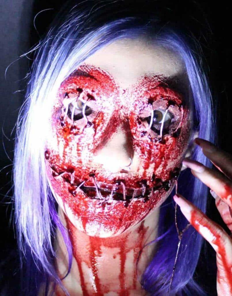 Sewn Up Face Halloween Makeup